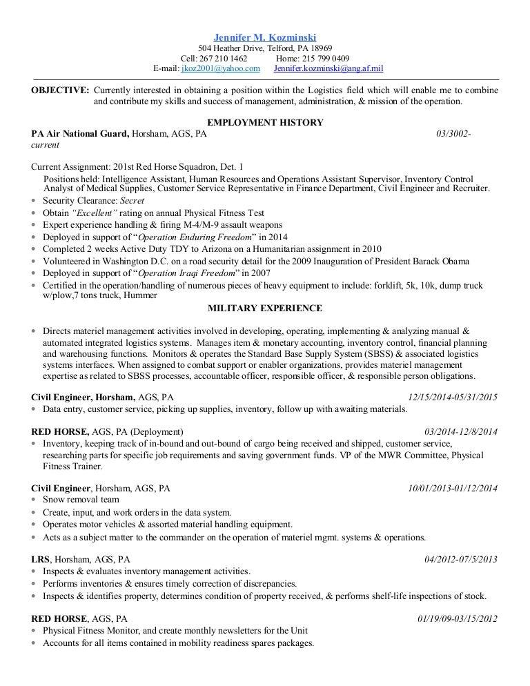military resume revised