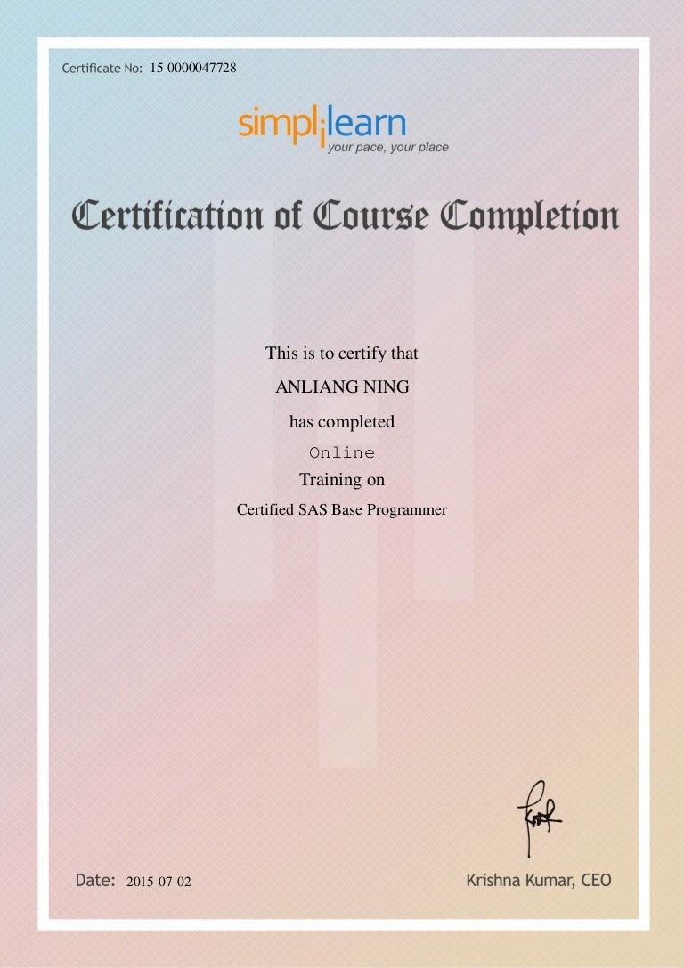 Anliang ning1 certified sas base programmer 1betcityfo Images