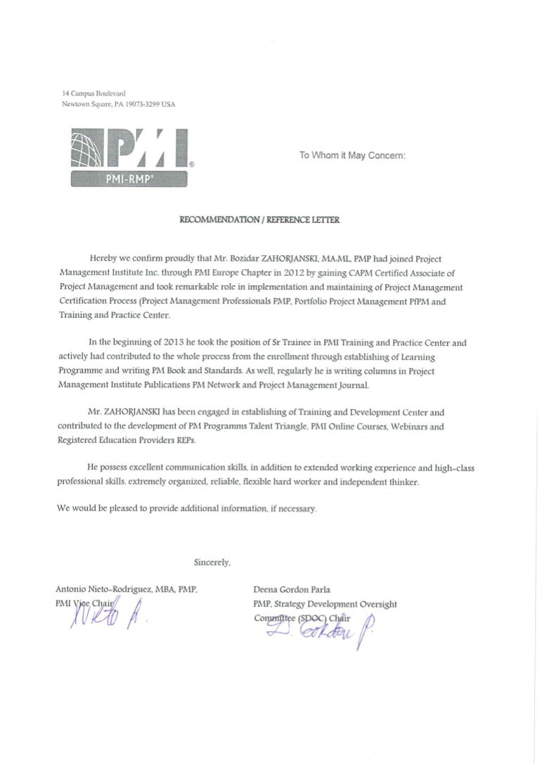 Bz pmi project management institute letter of reference certificate xflitez Gallery