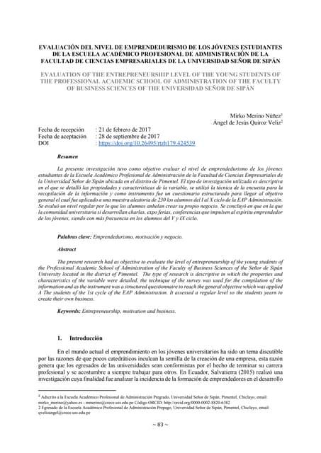 EVALUACIÓN DEL NIVEL DE EMPRENDEDURISMO DE LOS JÓVENES ESTUDIANTES DE LA ESCUELA ACADÉMICO PROFESIONAL DE ADMINISTRACIÓN DE LA FACULTAD DE CIENCIAS EMPRESARIALES DE LA UNIVERSIDAD SEÑOR DE SIPÁN