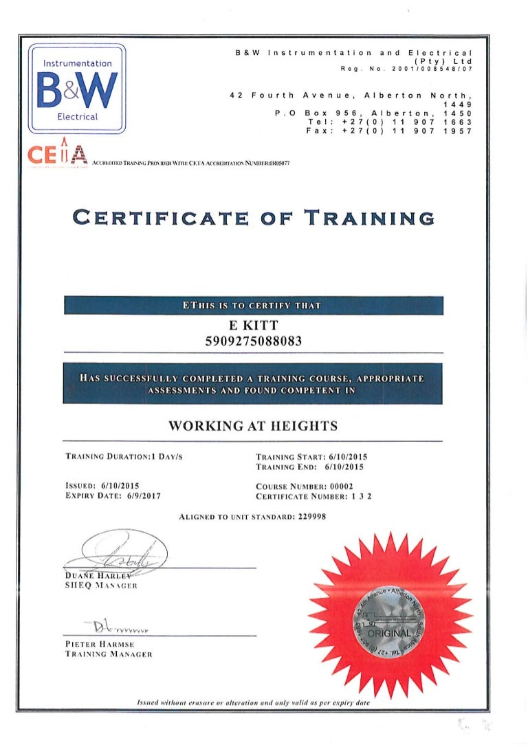 Working At Heights Certificate