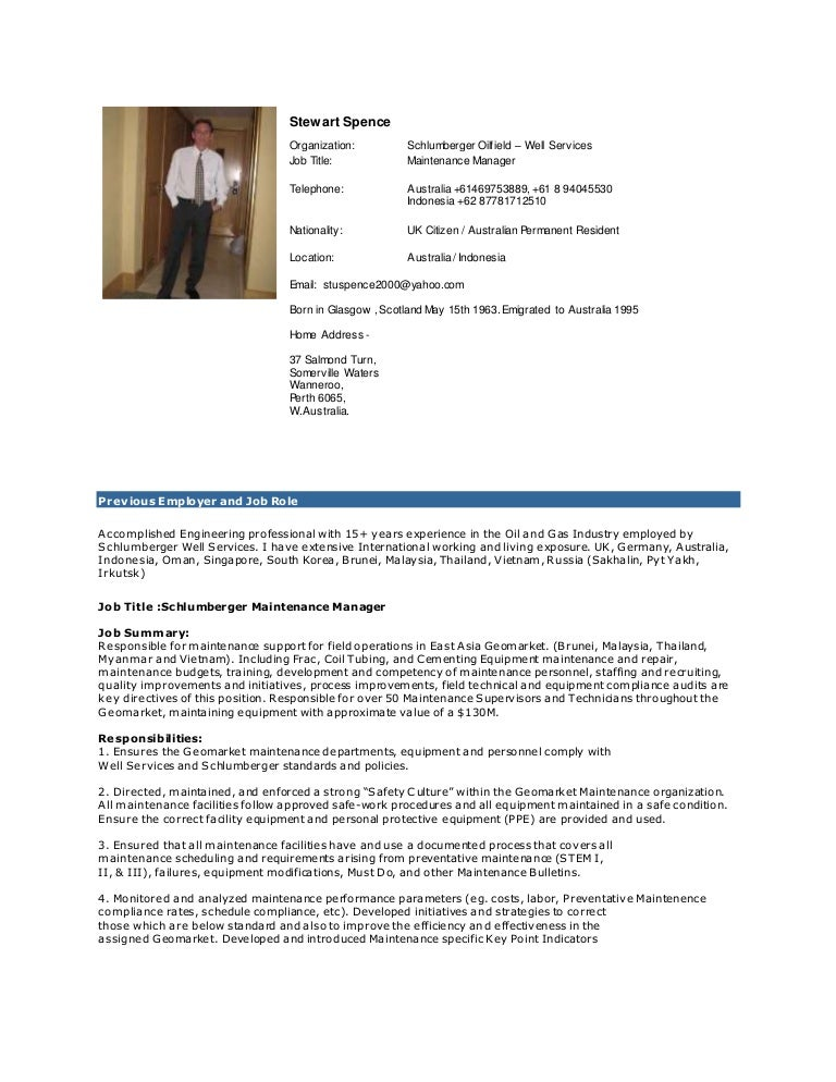 Spence Maintenance Manager Cv