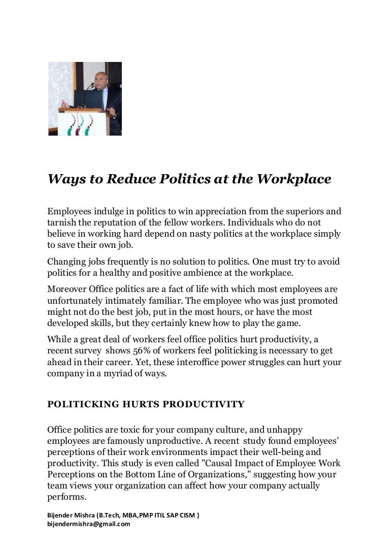 how to eliminate politics at workplace