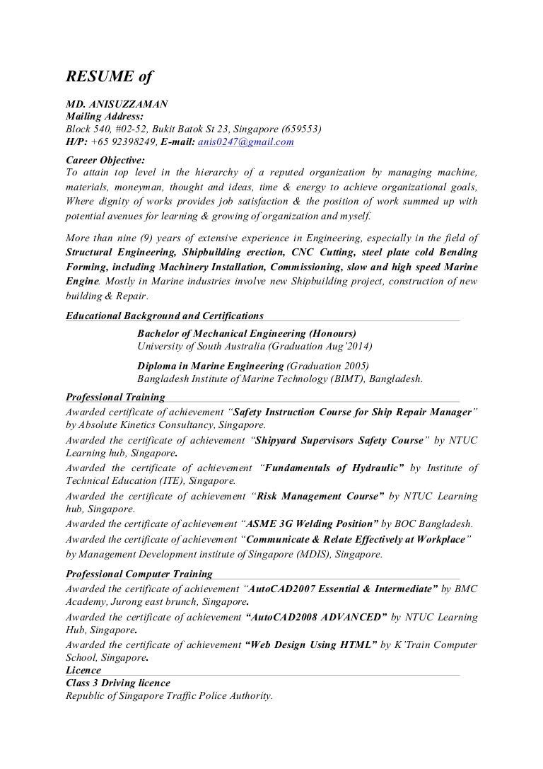 resume of md anisuzzaman