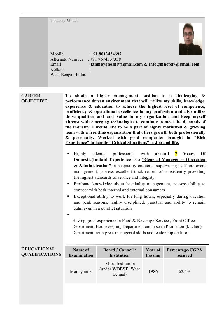 Resume C V^ Cover Letter Hotel Tanmoy December\' 2016