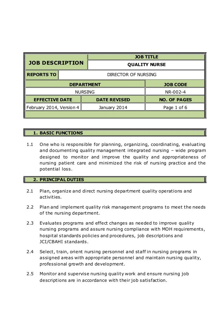 quality nurse job description - Practice Director Job Description