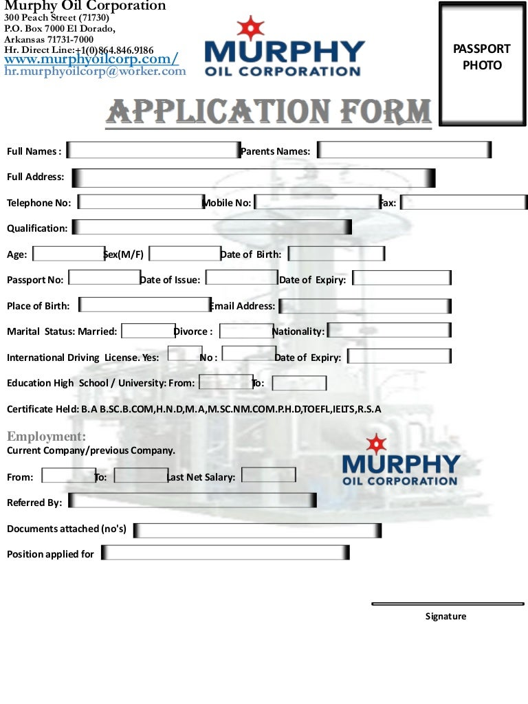 Murphy oil corporation job application form usa falaconquin