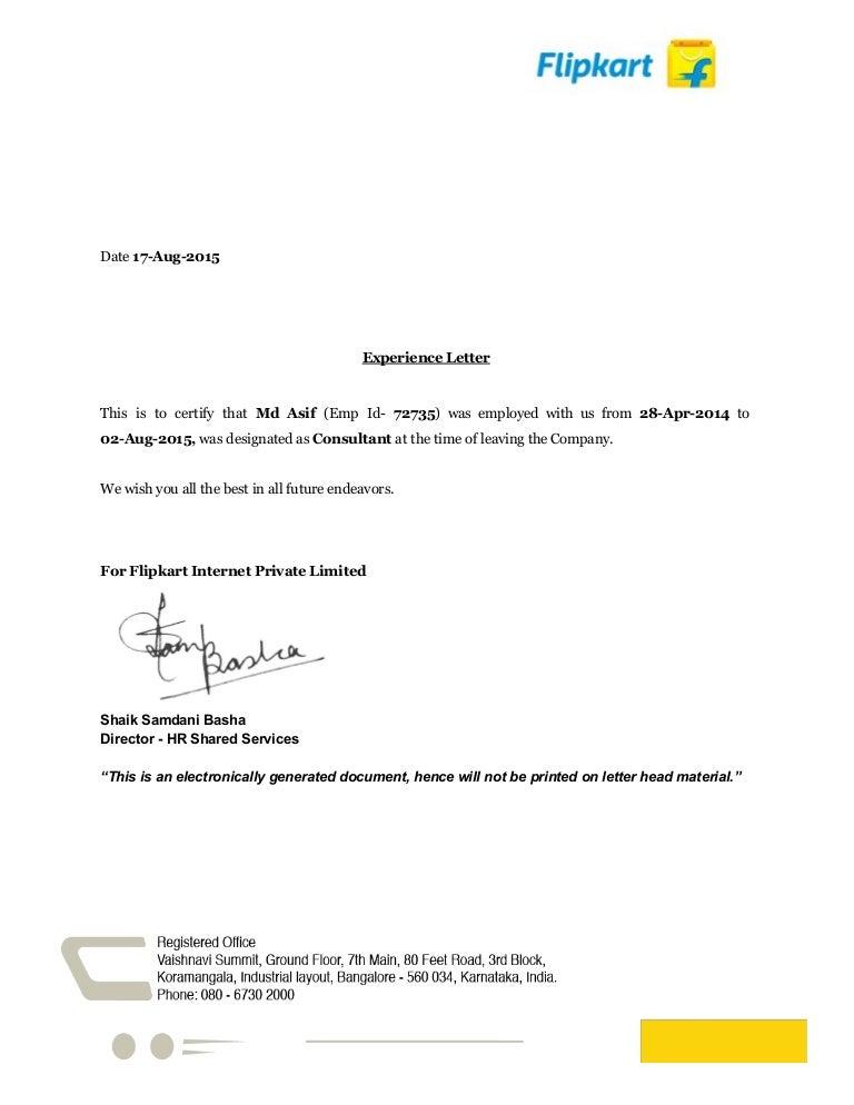 Experience Letter Of Flipkart