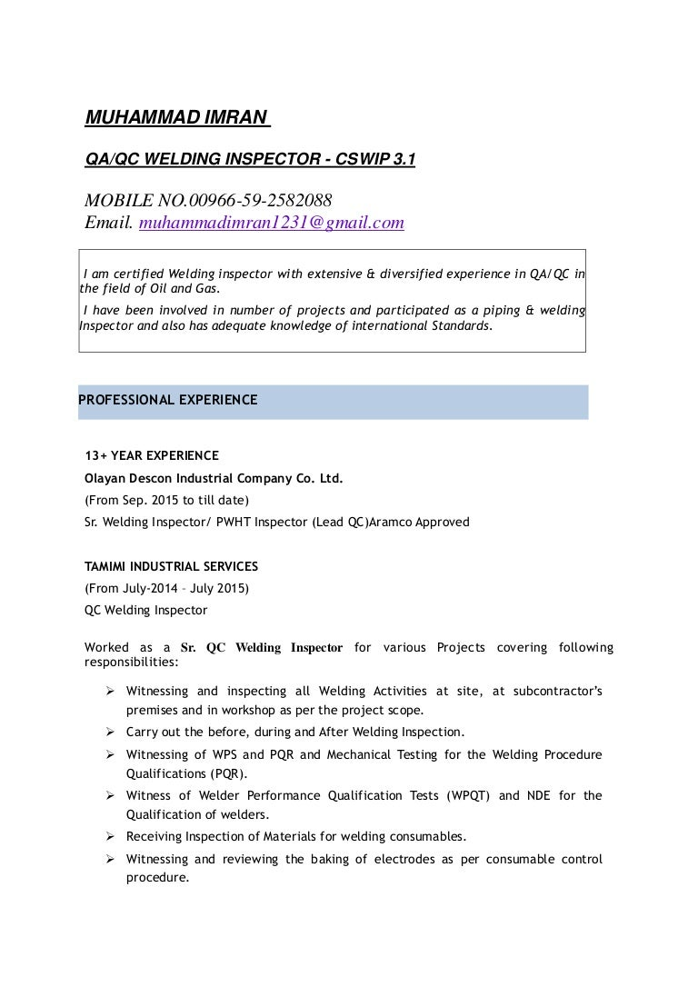 100 Qa Qc Welding Engineer Resume Picture Suggestion For