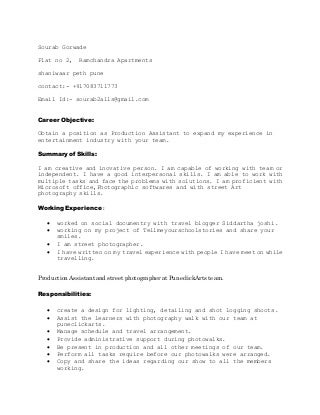 production assistant   linkedinproduction assistant resume