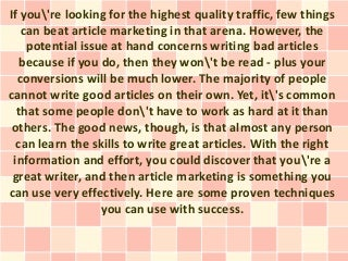 How to be a good article writer