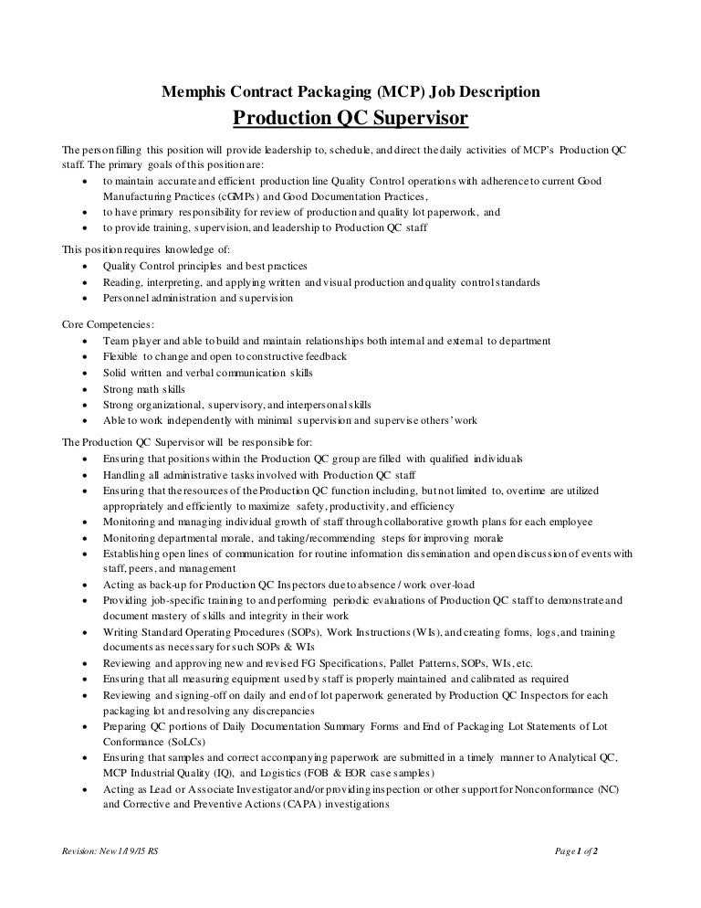Production Qc Supervisor Job Description