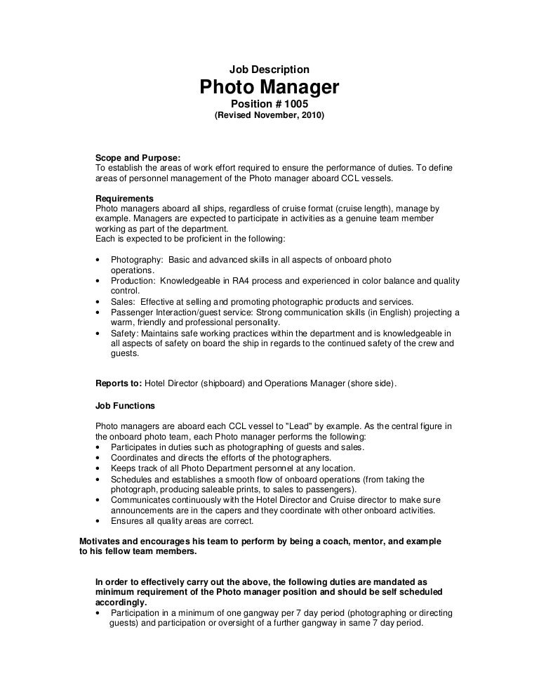 Job Description - Photo Manager