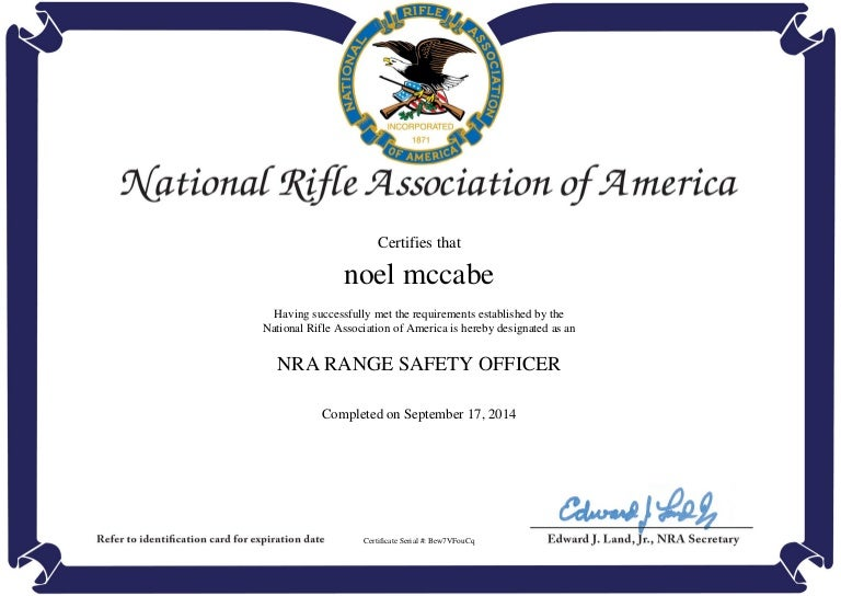 Nra Range Safety Officer Completion Certificate