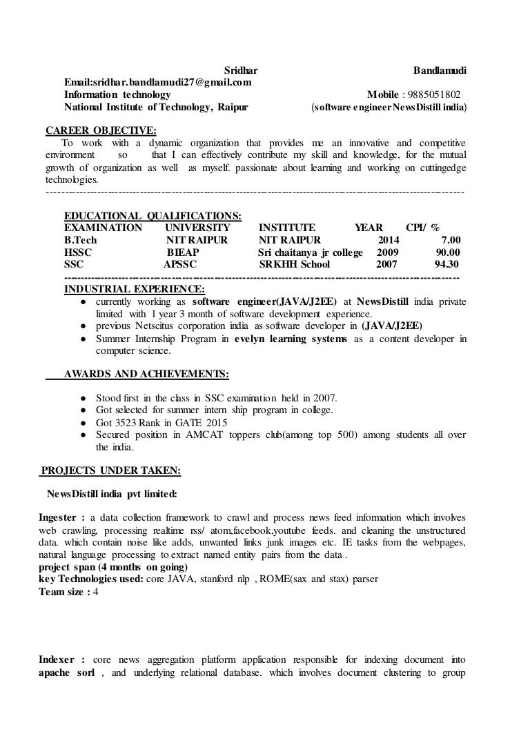 sridhar resume latest doc