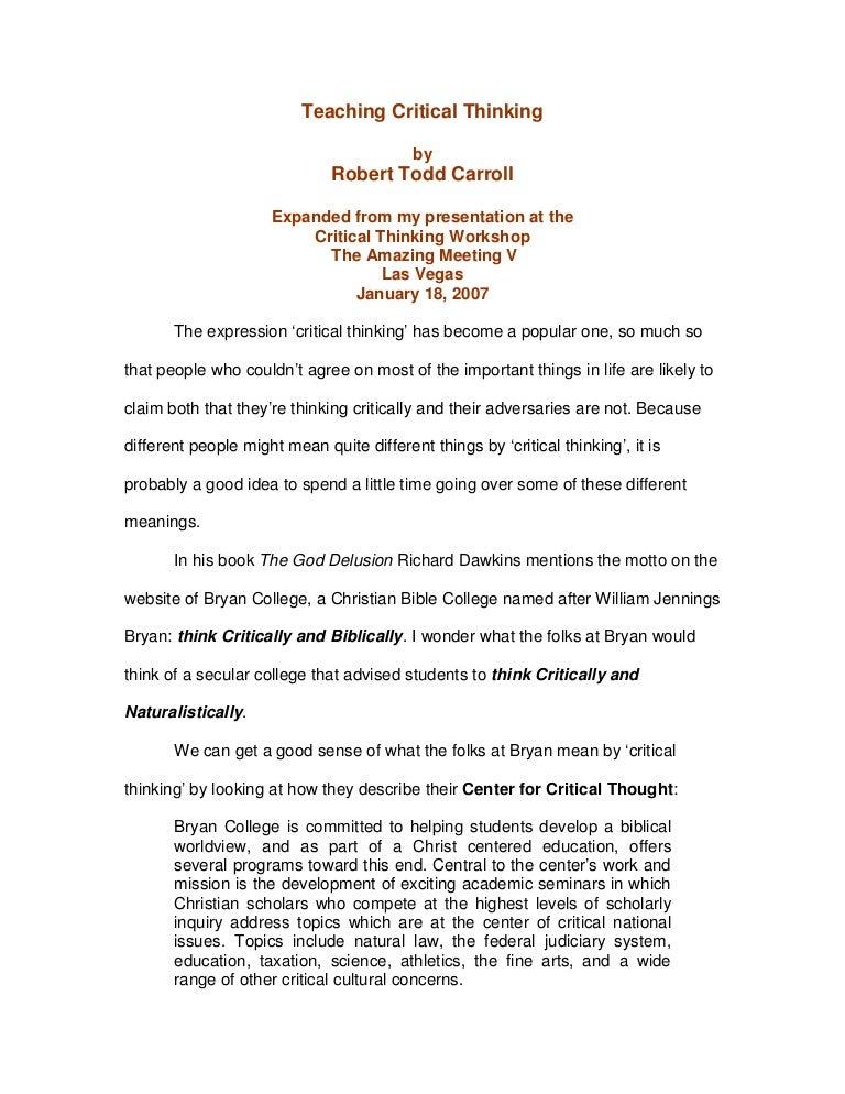 Essay On Critical Thinking Idealstalist