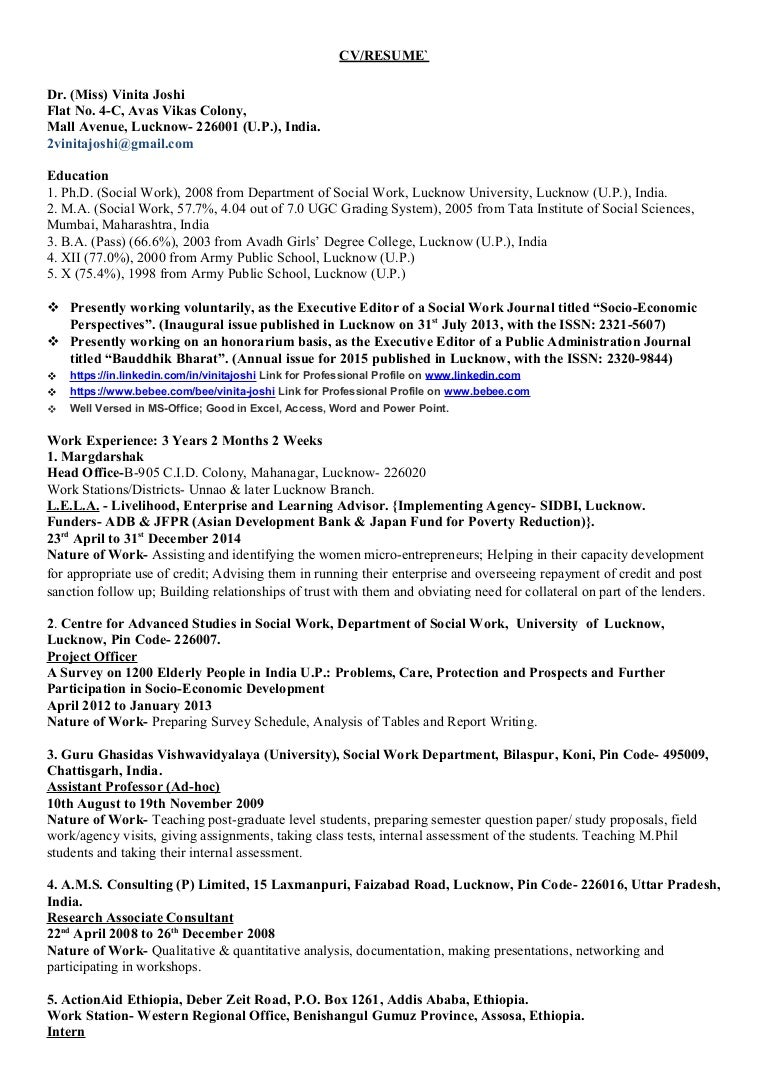 resume of dr vinita joshi 1 - Social Work Objective Resume