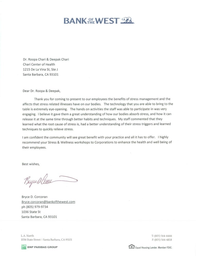 Endorsement Letter - Bank Of The West