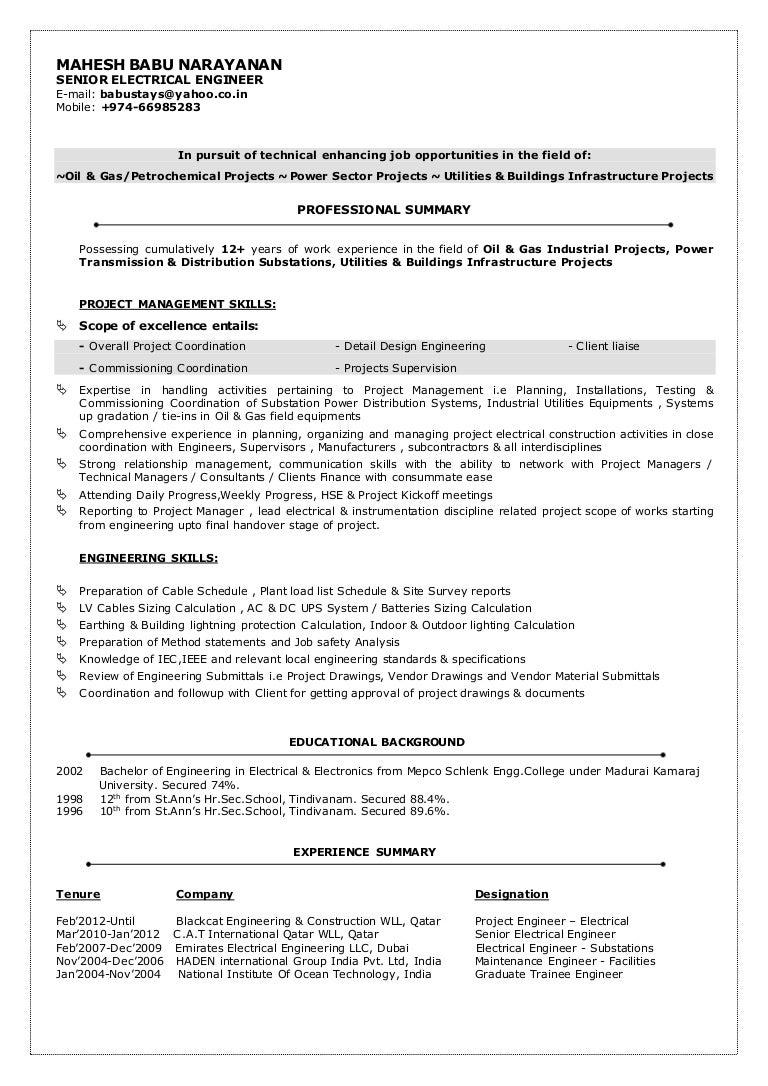Best Resume Electrical Engineer Best Resume Electrical Engineer