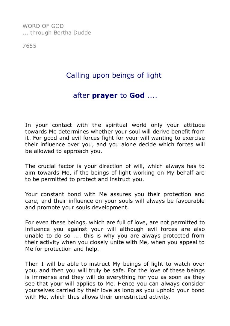 7655 Calling upon beings of light after prayer to God