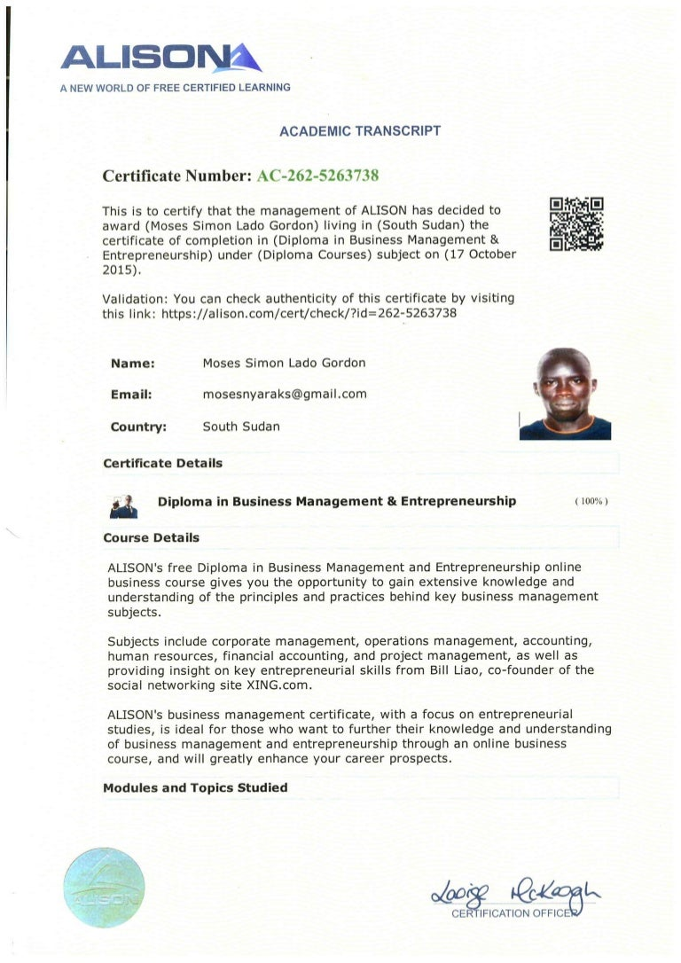 Academic Transcript Diploma In Business Management Entrepreneurship