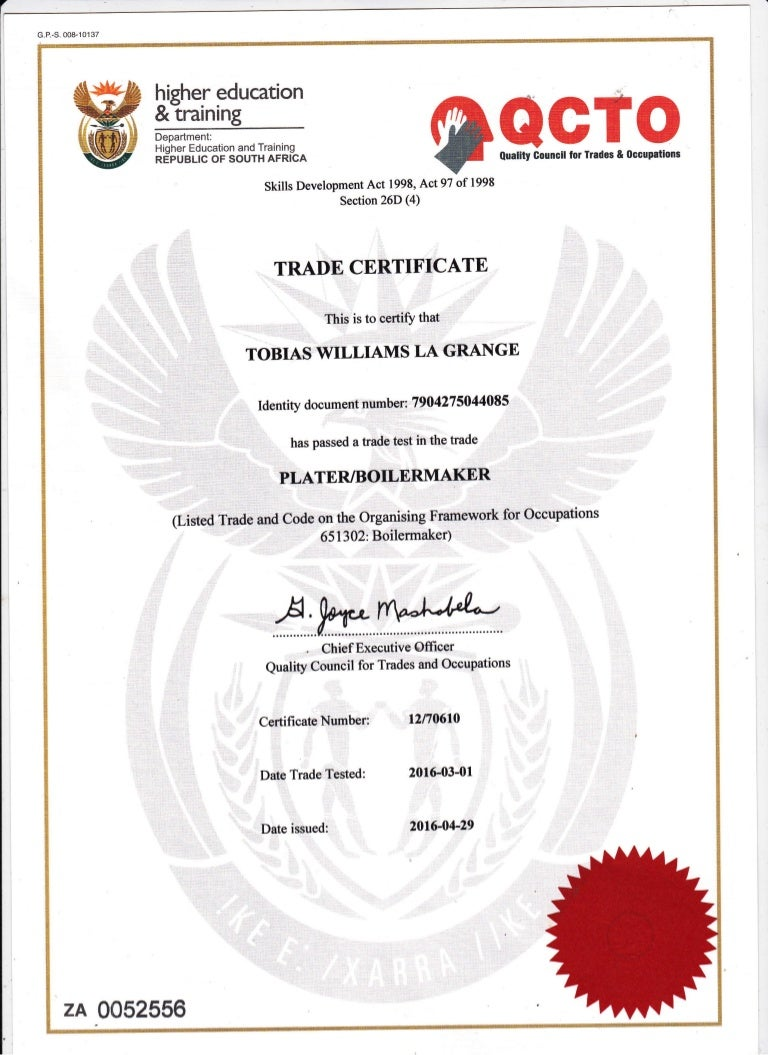 Boilermaker certificate xflitez Choice Image