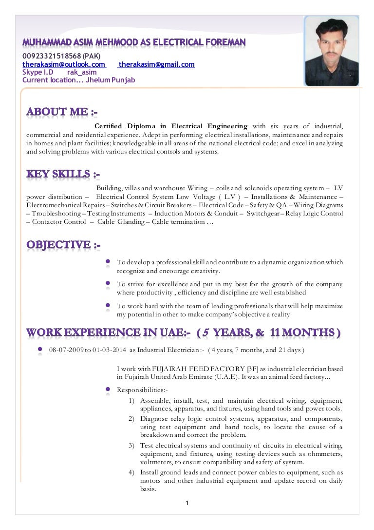 resume muhammad asim mehmood as electrical foreman