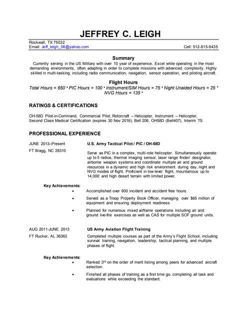 Rotc Scholarship Resume