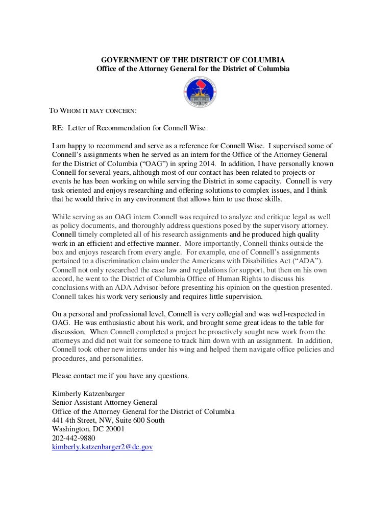 OAG Letter of Recommendation for Connell Wise - general
