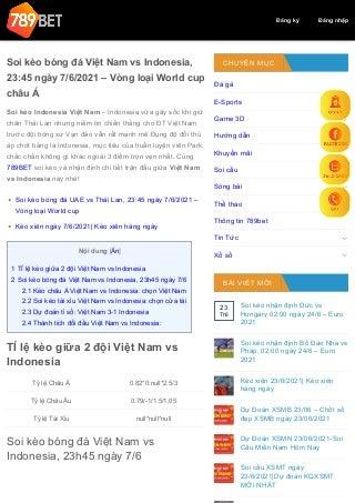 Soi kèo bóng đá Việt Nam vs Indonesia, 23:45 ngày 7/6/2021 - Vòng loại World cup châu Á