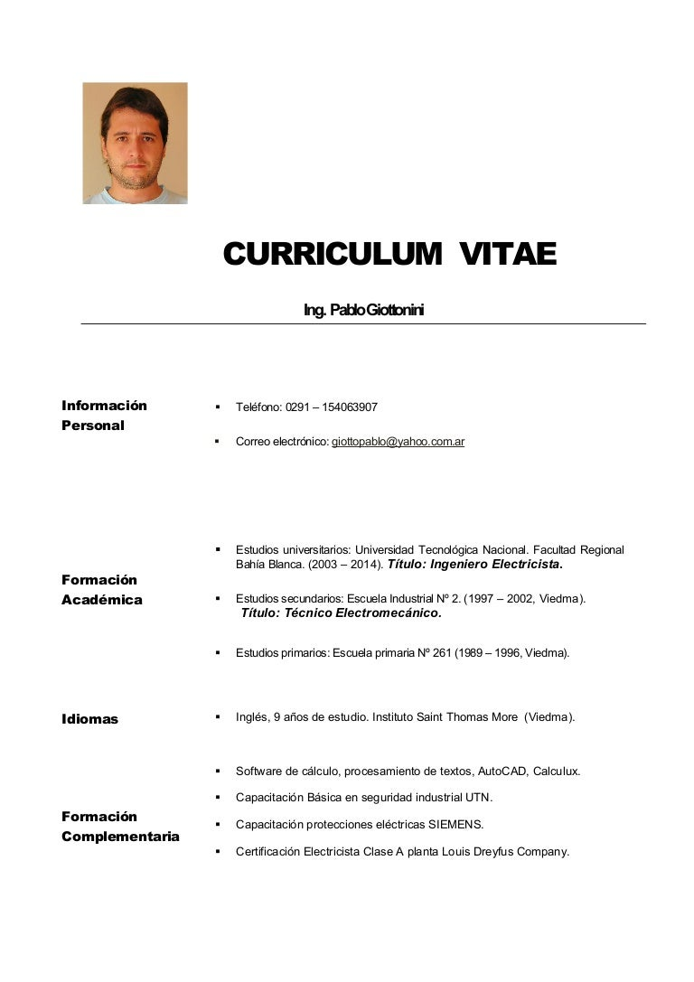 Increíble Currículum Funcional Para Electricista Oficial Molde ...