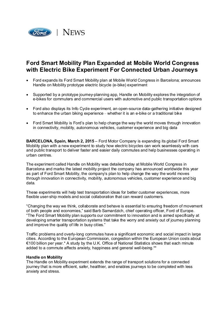 Ford e-bikes MoDe:Me and MoDe:Pro - Press Release