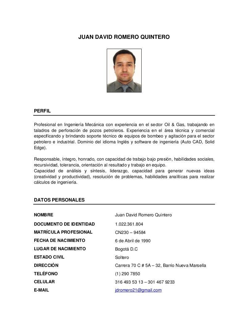Hoja de vida Juan David Romero Quintero.
