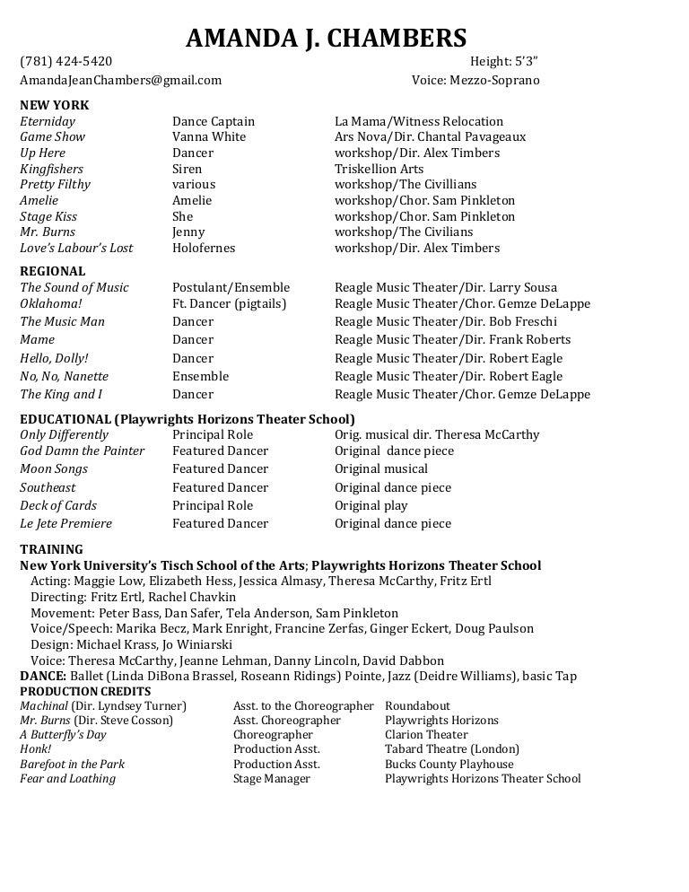 amanda chambers theater resume