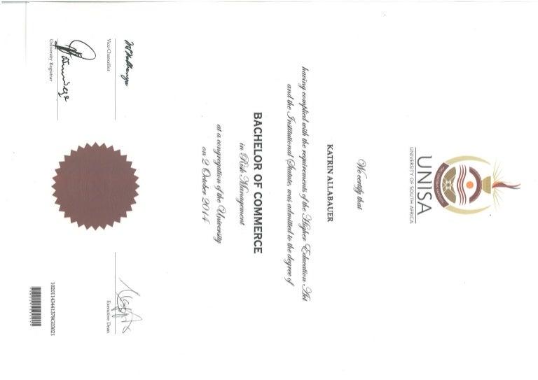 UNISA BCOM Certificate
