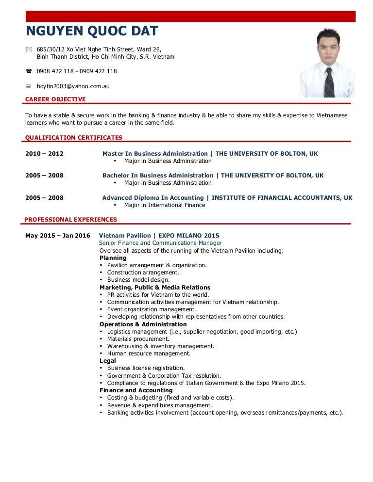 Nguyen Quoc Dat - Resume - April 2016