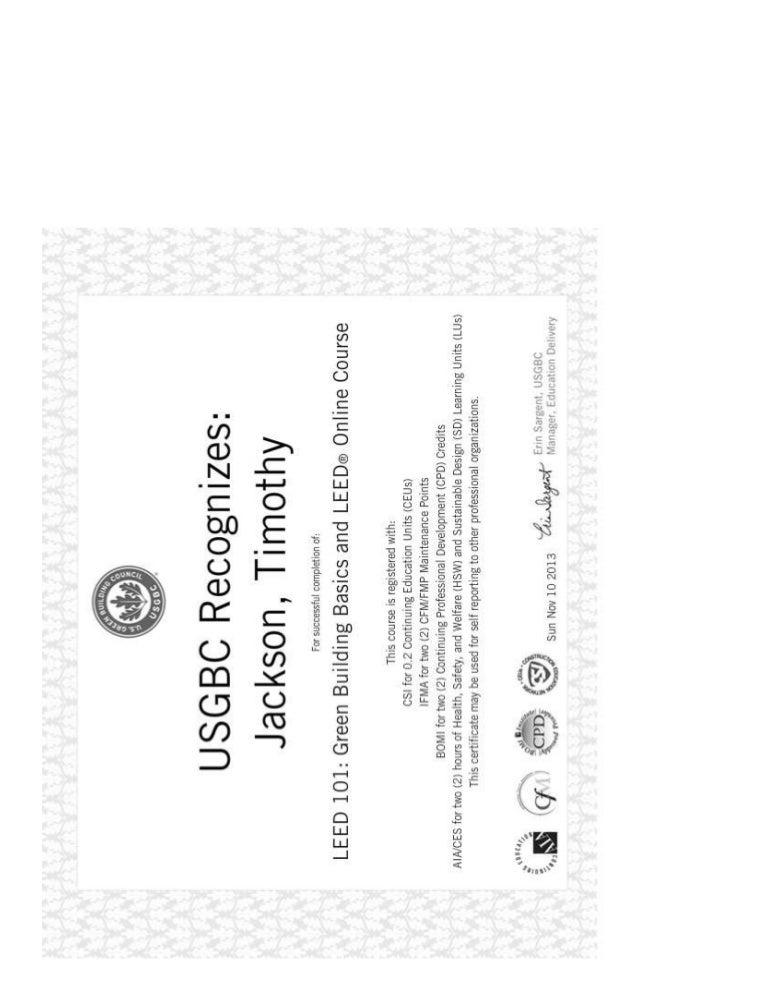 Leed 101 Certificate