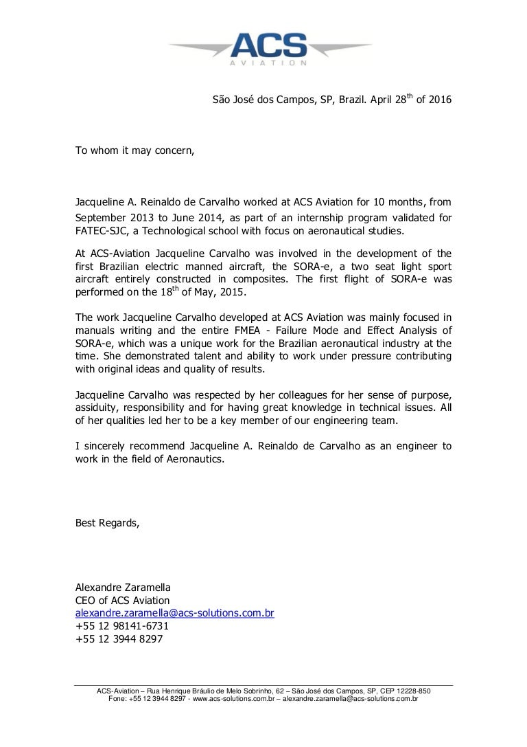 Acs Aviation Recommendation Letter Jacqueline