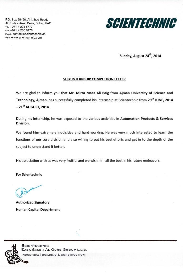 sample letter for internship