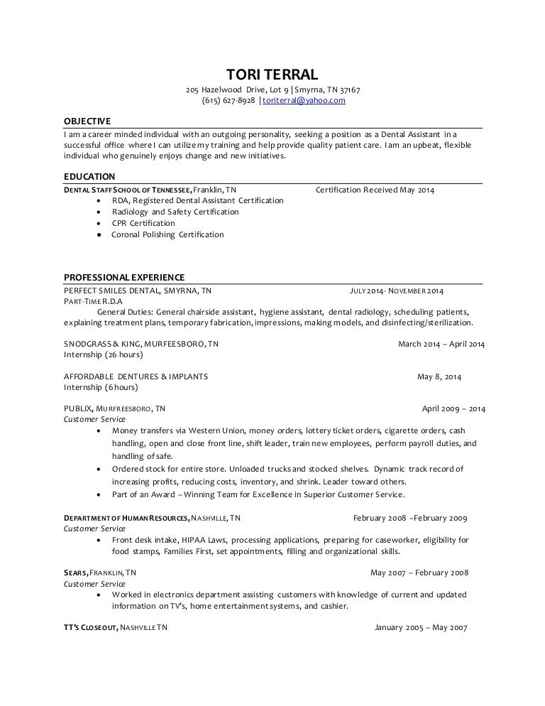 tori terral dental assistant resume