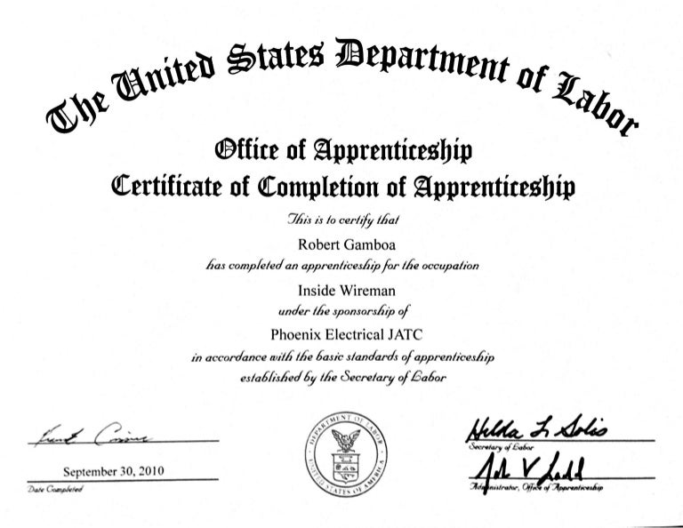 Certificate of Completion of Apprenticeship - Aug 11, 2014