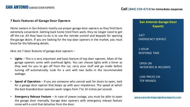 7 Basic Features Of Garage Door Openers