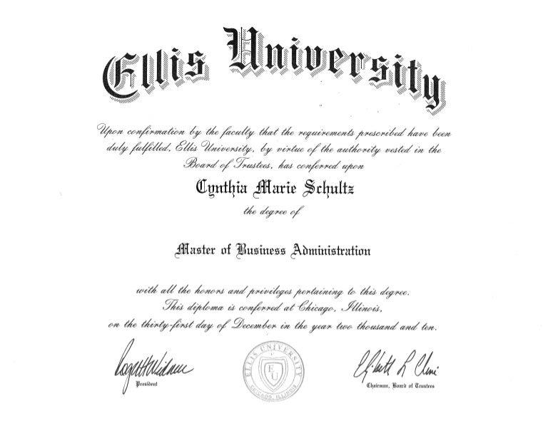 Ellis University Diploma Cynthia M Schultz Mba