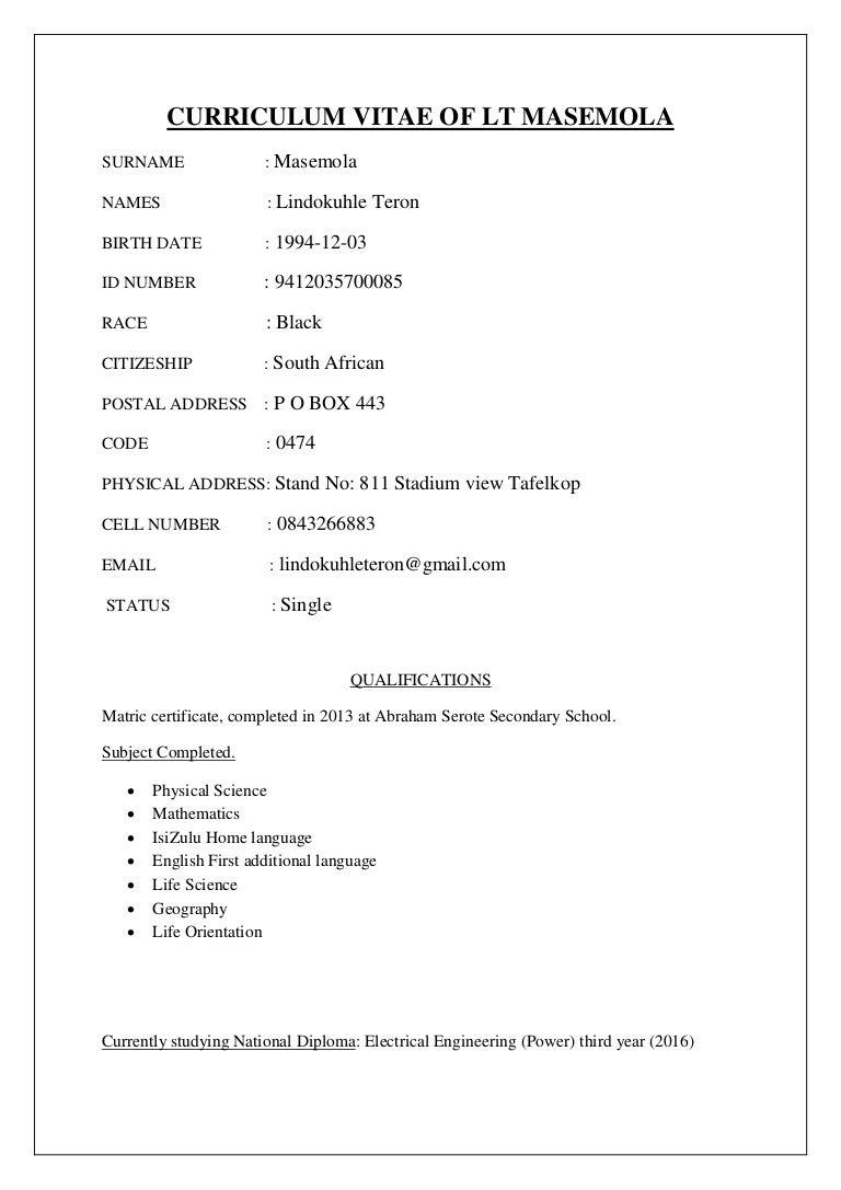 resume Submit Resume In Lt cv lt masemola