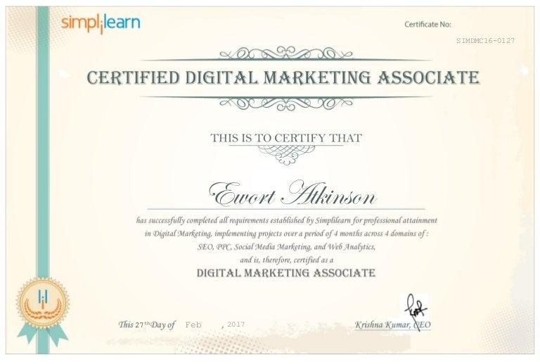 certificate marketing digital professional certified slideshare associate upcoming