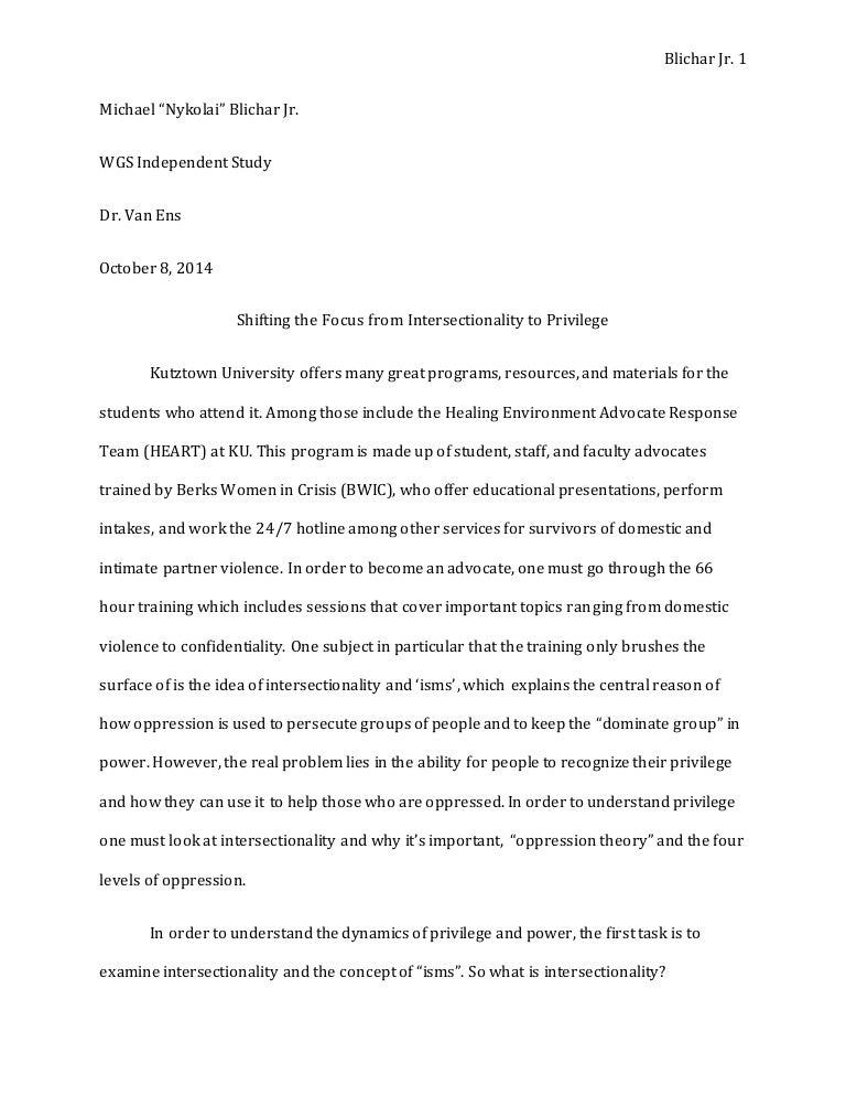 Privilege Essay  Romefontanacountryinncom Intersectionality Privilege