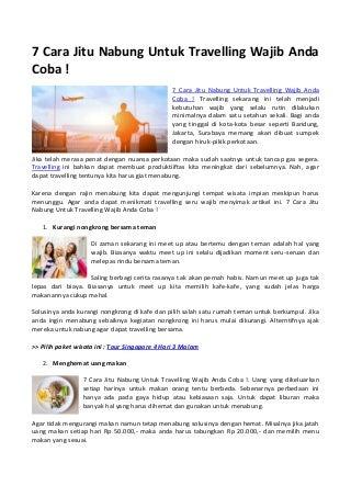 7 cara jitu nabung untuk travelling wajib anda coba