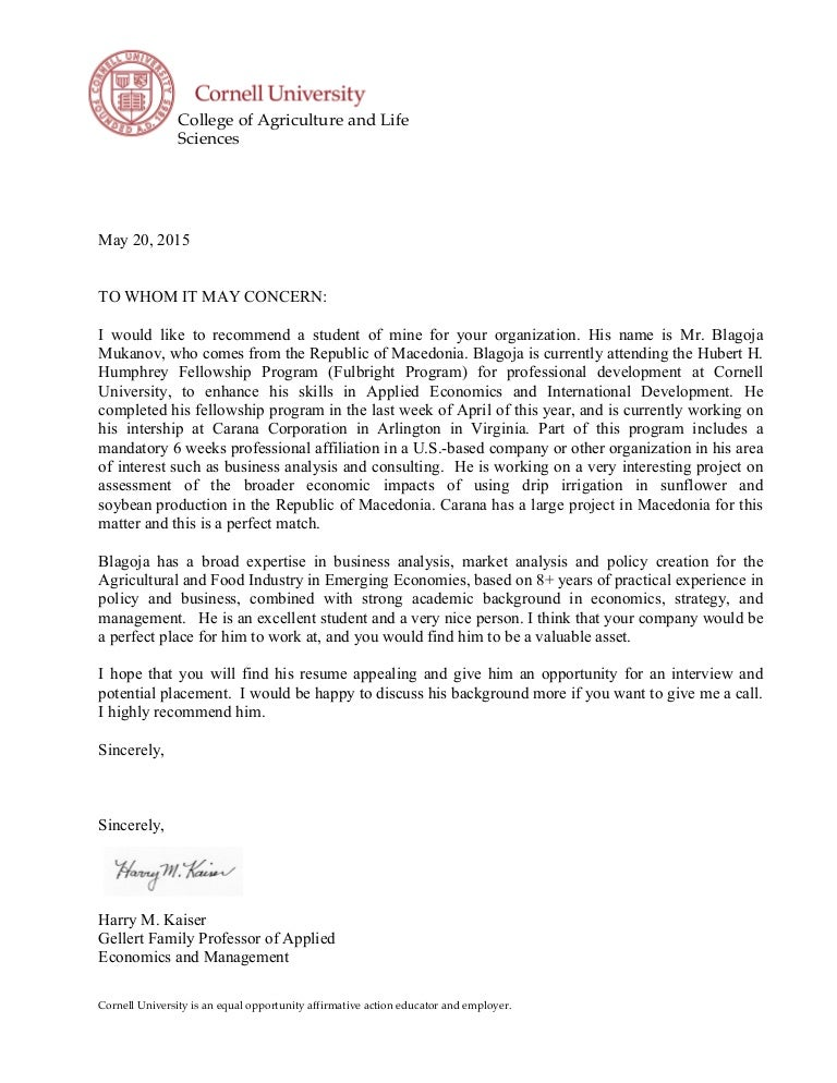 Letter of recommendation professor harry kaiser cornell university spiritdancerdesigns