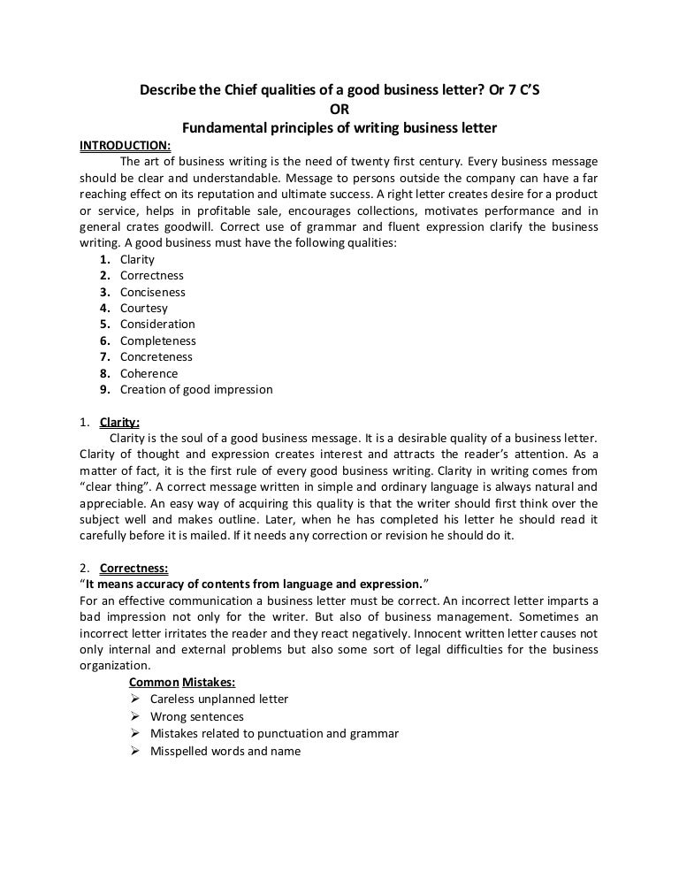 Fundamental Principles Of Writing Business Letter 7 Cs