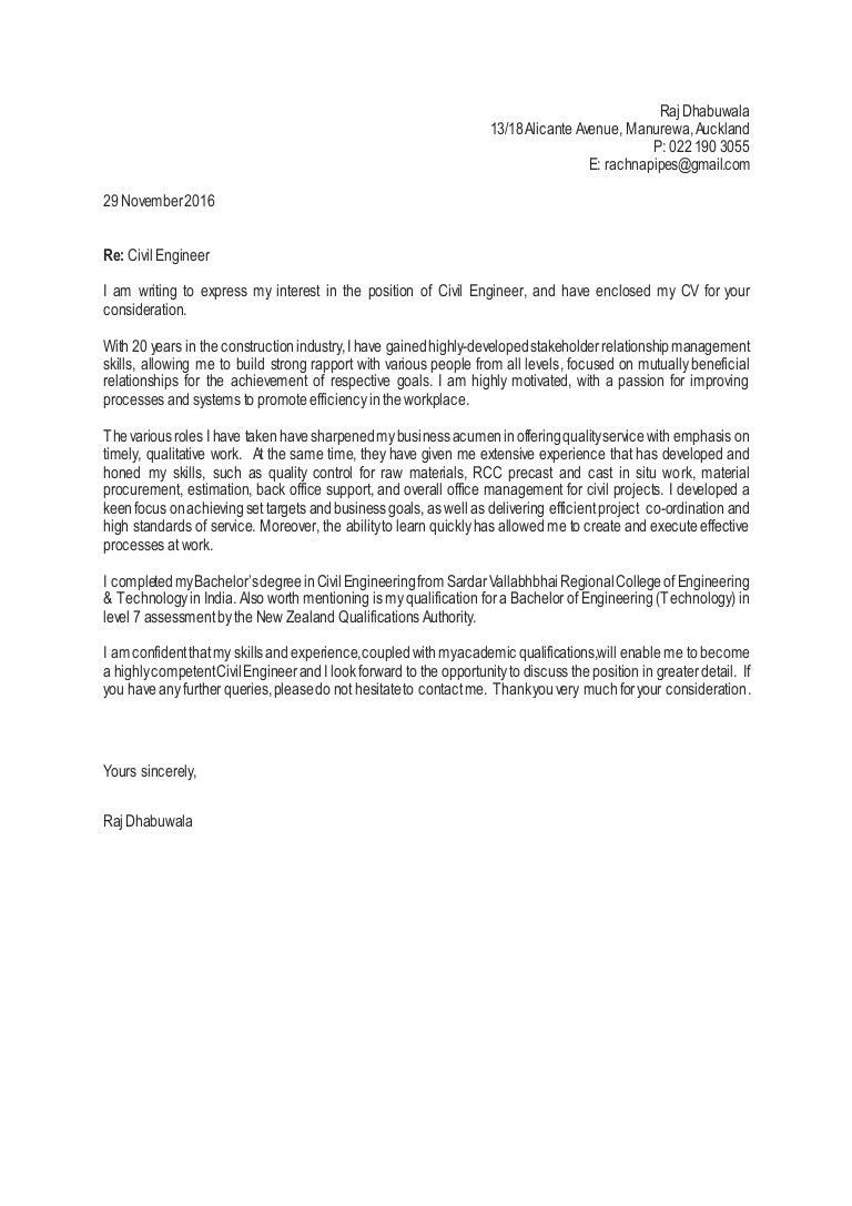 raj cover letter civil engineering